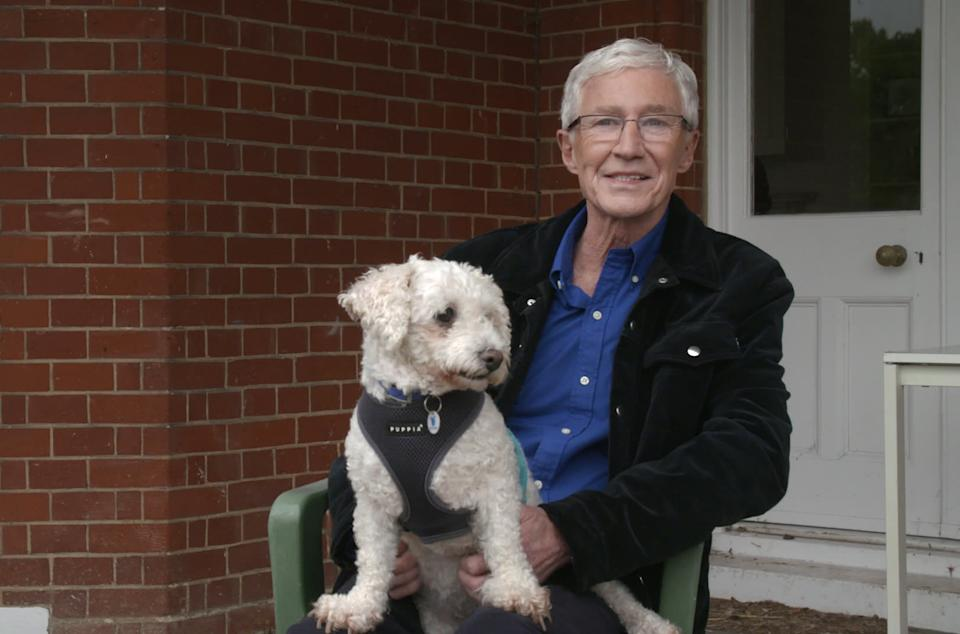 Paul O'Grady with a Bichon called Pooch. (ITV)