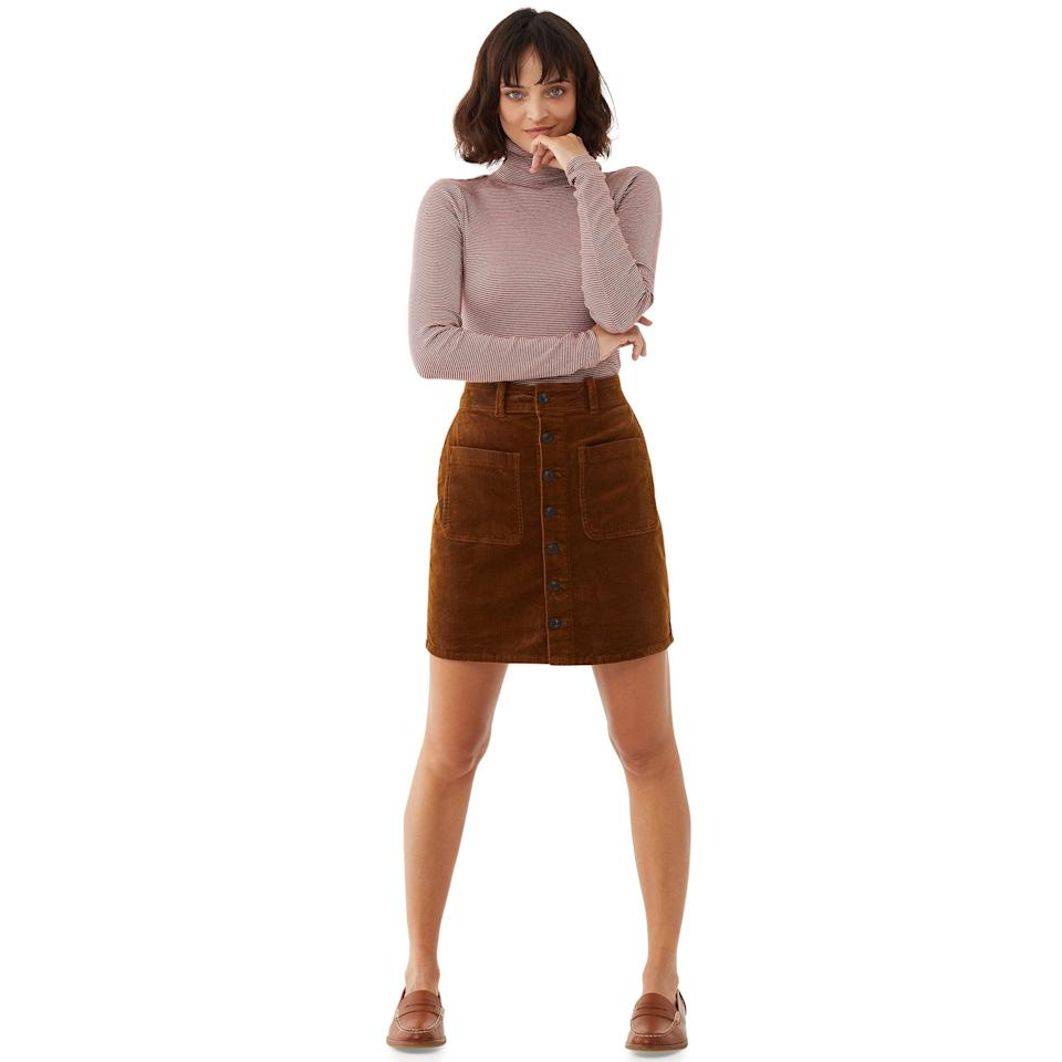"<br><br><strong>Free Assembly</strong> Organic Cotton Corduroy Skirt, $, available at <a href=""https://go.skimresources.com/?id=30283X879131&url=https%3A%2F%2Fwww.walmart.com%2Fip%2FFree-Assembly-Women-s-Corduroy-Button-Front-Skirt%2F141776168"" rel=""nofollow noopener"" target=""_blank"" data-ylk=""slk:Walmart"" class=""link rapid-noclick-resp"">Walmart</a>"