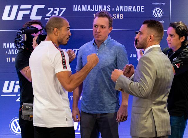 Jose Aldo (L) and Alex Volkanovski face off during a news conference on May 9, 2019, in Rio de Janeiro. (Getty Images)