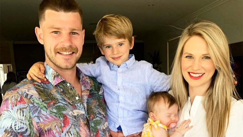 Pictured here, Bryce Gibbs and his wife Lauren, with their two children.