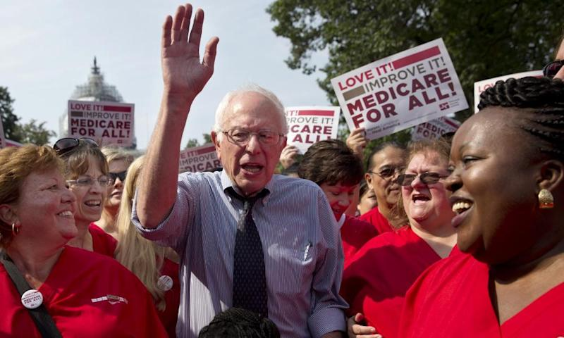 Bernie Sanders celebrates the 50th anniversary of Medicare and Medicaid two years ago.