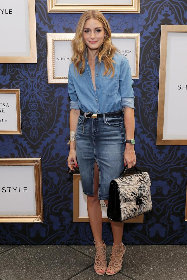 <p>Take the Canadian tuxedo to new, elevated lengths with a denim pencil skirt and chambray button-down. </p>
