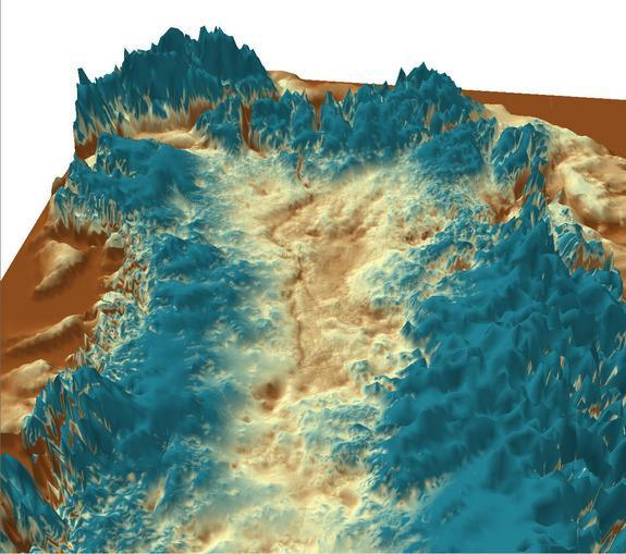 3D view of the subglacial canyon, looking northwest from central Greenland.