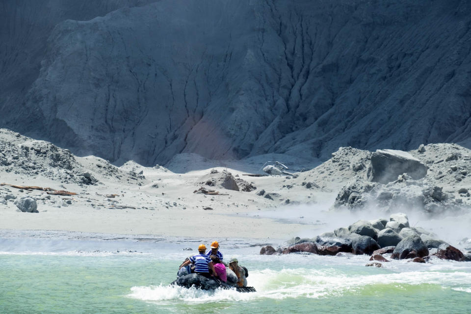 A rescue boat leaving White Island following the eruption of the volcano on Monday. Source: AAP