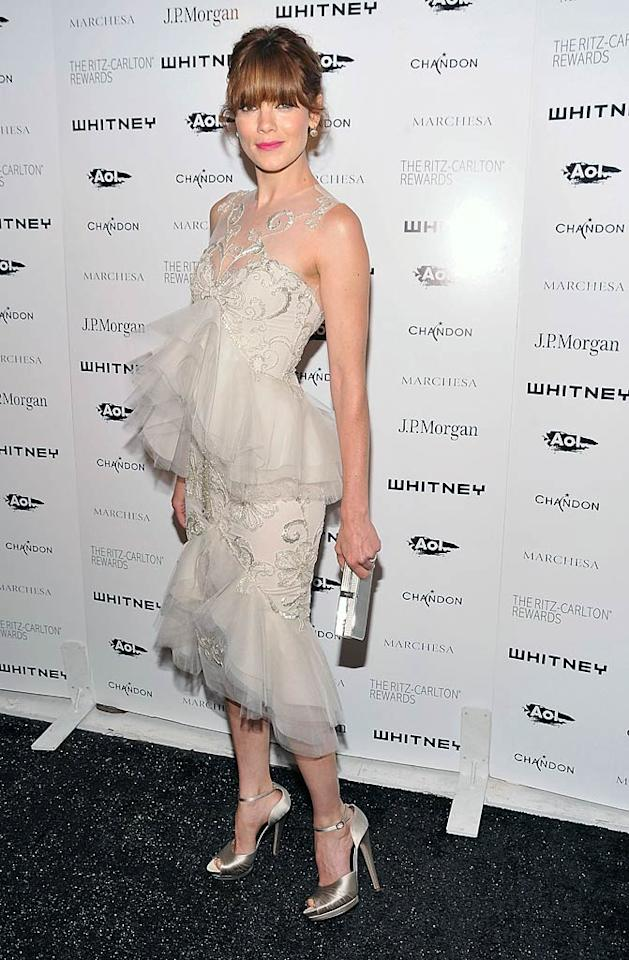 Can we all agree that the tulle-accented Marchesa atrocity Michelle Monaghan wore to a recent gala at the Whitney Museum is one of the (if not the) worst looks of the year? And, needless to say, her heavy bangs and mismatched lipstick don't help matters.  Gary Gershoff/WireImage.com - October 5, 2011
