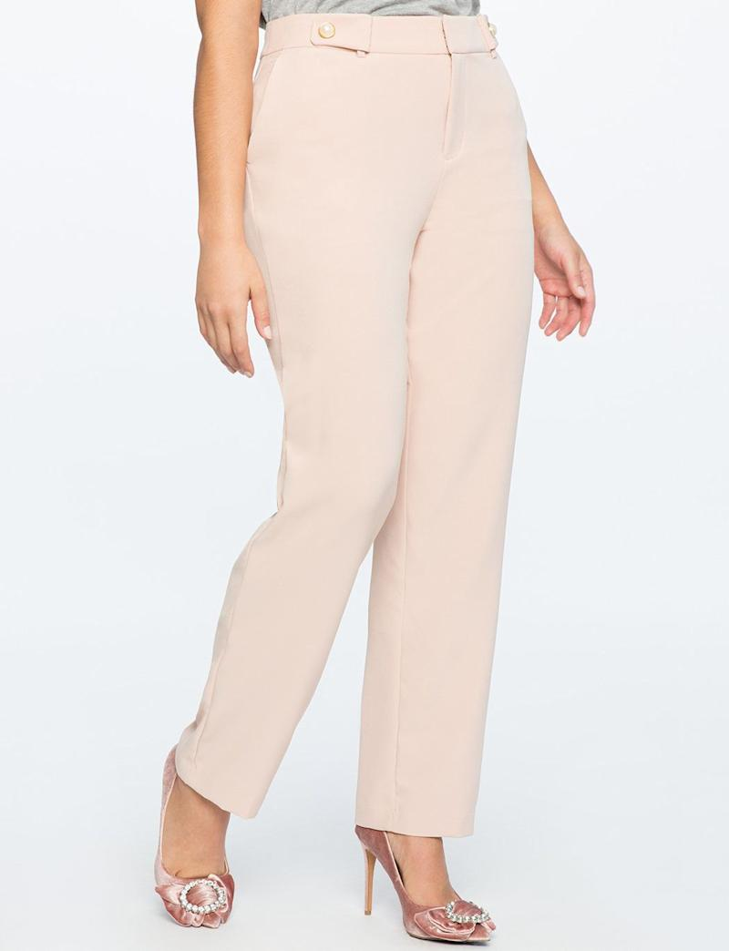 "Get it at <a href=""http://www.eloquii.com/sam-pant-with-pearl-button-detail/1155495.html?dwvar_1155495_colorCode=2&cgid=pants&start=52"" target=""_blank"">Eloquii</a>, $90."