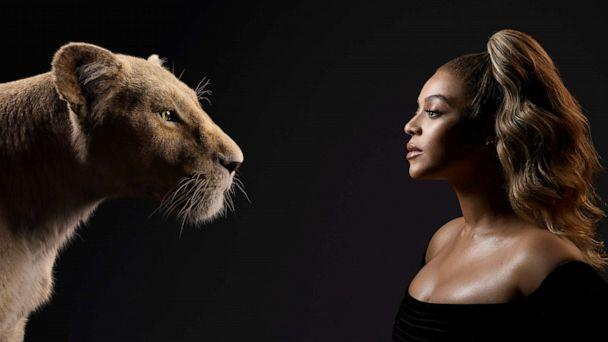 PHOTO: Beyonce Knowles-Carter appears beside her 'Lion King' character, Nala. (Kwaku Alston/Disney)