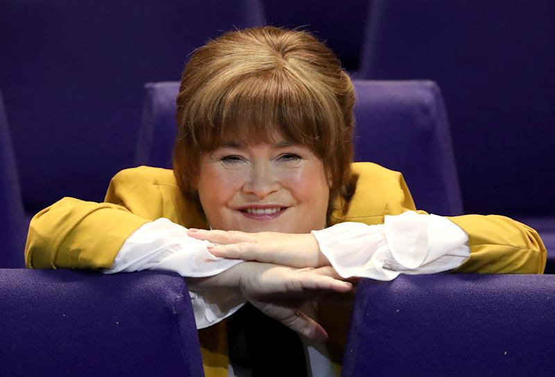"Susan Boyle at the SEC Armadillo in Glasgow to promote her ""Ten Tour"", after she astonished the judges and audience at Britain's Got Talent during an audition at the Armadillo ten years ago. The tour starts on 4th March when she returns to the venue. (Photo by Andrew Milligan/PA Images via Getty Images)"
