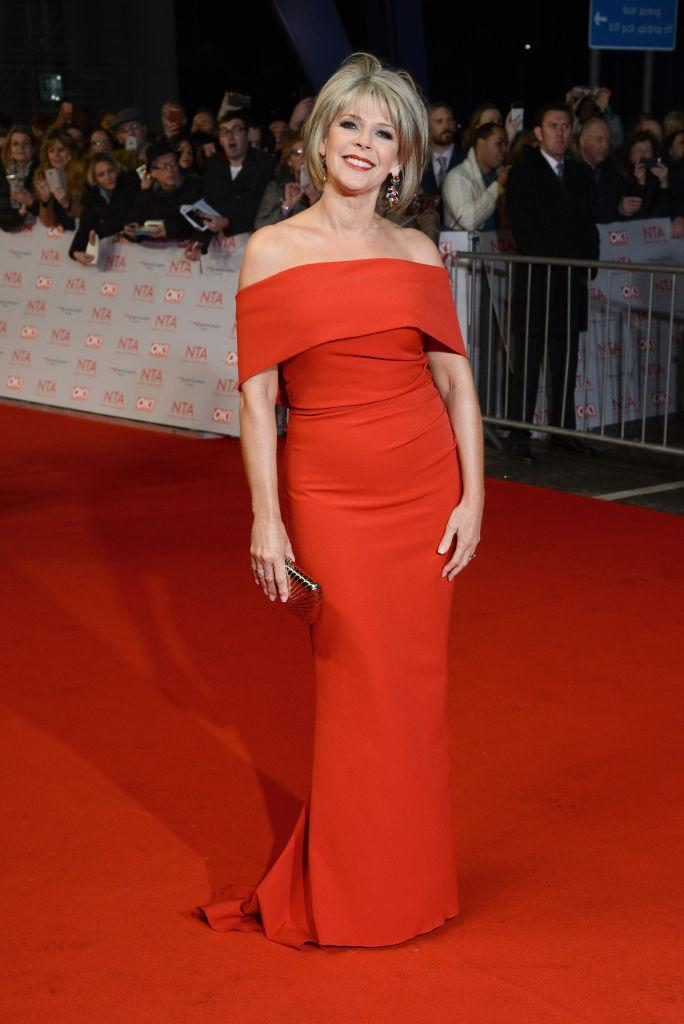 <p>For the first time in National Television Awards history, Ruth Langsford attended the ceremony without husband Eamonn Holmes. For the occasion, the television presenter donned a cold-shoulder dress by Kevan Jon and accessorised the look with Jimmy Choo heels. <em>[Photo: Getty]</em> </p>