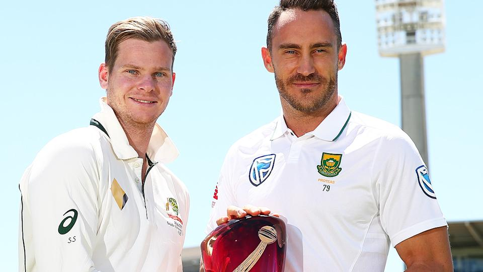 Steve Smith and Faf du Plessis, pictured here before Australia's Test series against South Africa in 2016.