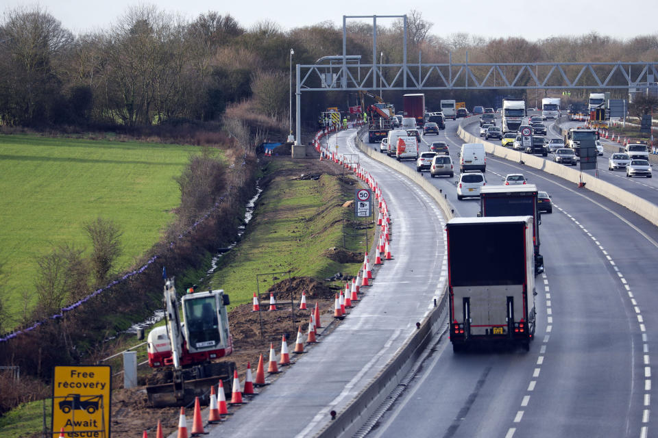 """File photo dated 27/1/2010 of work continues near Wokingham, Berkshire, on turning the M4 Motorway into a digital Mototway. Britain's so-called smart motorways have been branded a """"death trap"""" by MPs in a report which has prompted criticism of Highways England."""