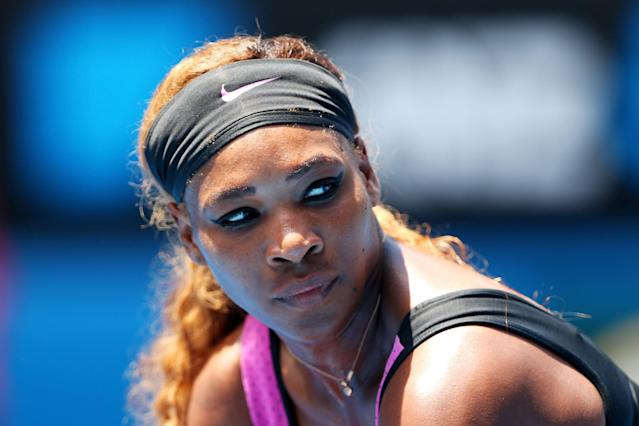 "<p>Even on the tennis court, Williams serves up stunning looks, like this <a href=""https://www.popsugar.com/beauty/Best-Eyeliners-46165901"" class=""link rapid-noclick-resp"" rel=""nofollow noopener"" target=""_blank"" data-ylk=""slk:bold swoop of eyeliner"">bold swoop of eyeliner</a> midmatch. </p>"
