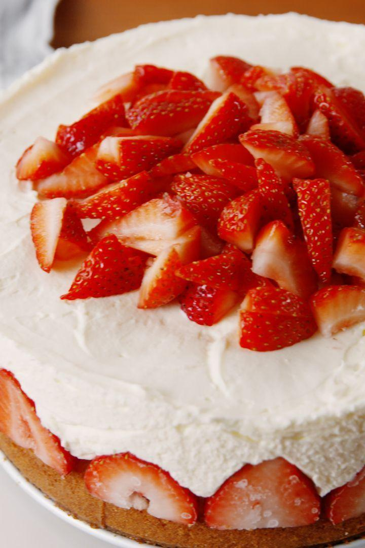 """<p>Classic <a href=""""https://www.delish.com/uk/cooking/recipes/g30239150/cheesecake-recipes/"""" rel=""""nofollow noopener"""" target=""""_blank"""" data-ylk=""""slk:cheesecake"""" class=""""link rapid-noclick-resp"""">cheesecake</a> gets a summery upgrade. </p><p>Get the <a href=""""https://www.delish.com/uk/cooking/recipes/a32027888/strawberry-shortcake-cheesecake-dessert-recipe/"""" rel=""""nofollow noopener"""" target=""""_blank"""" data-ylk=""""slk:Strawberry Shortcake Cheesecake"""" class=""""link rapid-noclick-resp"""">Strawberry Shortcake Cheesecake</a> recipe.</p>"""