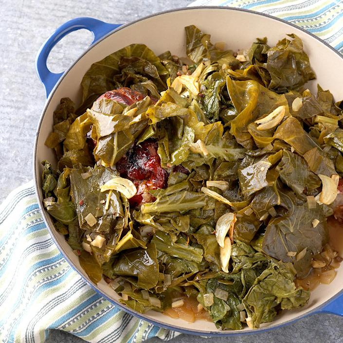 <p>Collard greens are meltingly tender when cooked for a long period of time. Smoked turkey in place of bacon adds the traditional smoky taste.</p>