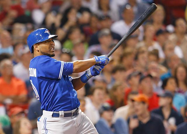 BOSTON, MA - JUNE 28: Edwin Encarnacion #10 of the Toronto Blue Jays connects for a home run in the 7th inning against the Boston Red Sox at Fenway Park on June 28, 2013 in Boston, Massachusetts. (Photo by Jim Rogash/Getty Images)