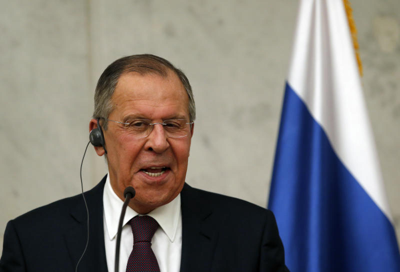 Russian Foreign Minister Sergey Lavrov smiles during a press conference after talks with Serbia's President Aleksandar Vucic in Belgrade, Serbia, Wednesday, Feb. 21, 2018. Russia's foreign minister on Wednesday criticized Western policies toward his country, urging European countries to maintain good relations with Moscow despite the Russia-West divisions. (AP Photo/Darko Vojinovic)