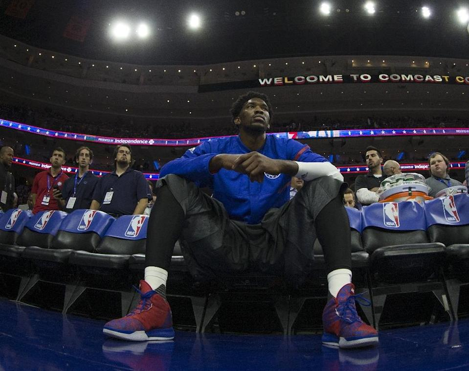 Rookie center Joel Embiid scored a career-high 33 points as the Phildaelphia 76ers beat the Brooklyn Nets (AFP Photo/Mitchell Leff)