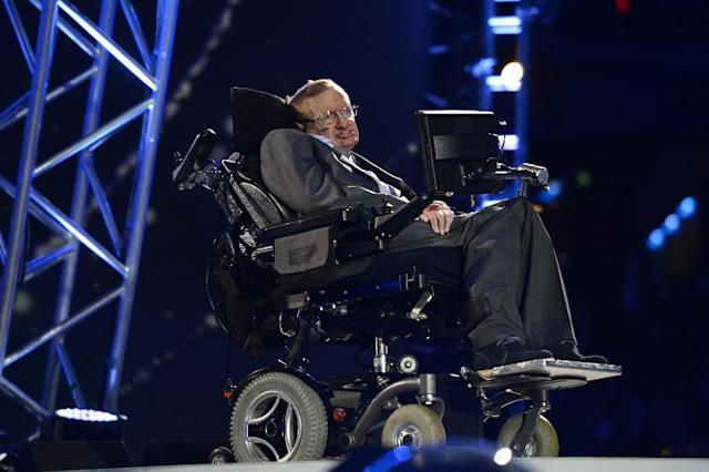 Stephen Hawking made a cameo during the opening ceremony of the London 2012 Paralympic Games (AFP Photo/LEON NEAL)