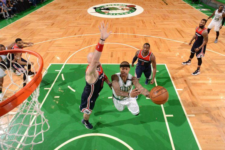 Celtics point guard Isaiah Thomas scored almost as many points as he stands inches. (Getty Images)