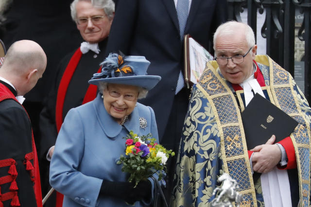 One of the Queen's last engagements before lockdown was the Commonwealth Day Service. (Getty Images)