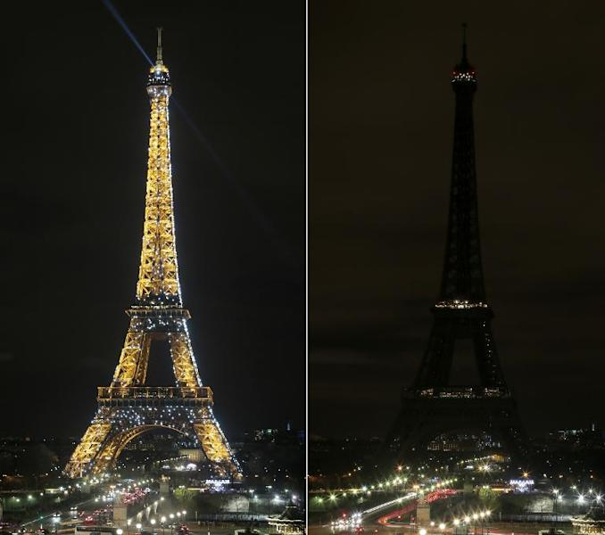 A combo picture taken on March 28, 2015 in Paris shows the Eiffel Tower being submerged into darkness for the Earth Hour environmental campaign