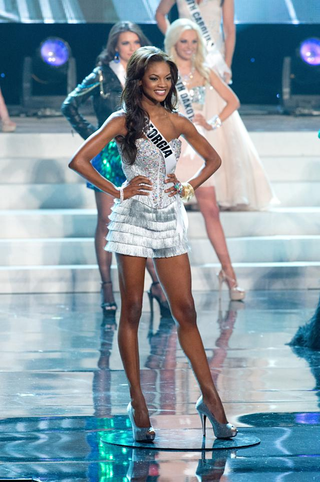"Miss Georgia USA 2012, Jasmyn ""Jazz"" Alexandria Wilkins from Johns Creek, is a top 16 semifinalist vying for the title of Miss USA 2012 and the Diamond Nexus Labs crown, during the 2012 MISS USA Competition from the Planet Hollywood Resort & Casino Theatre for the Performing Arts, in Las Vegas, Nevada on Sunday, June 3, 2012."