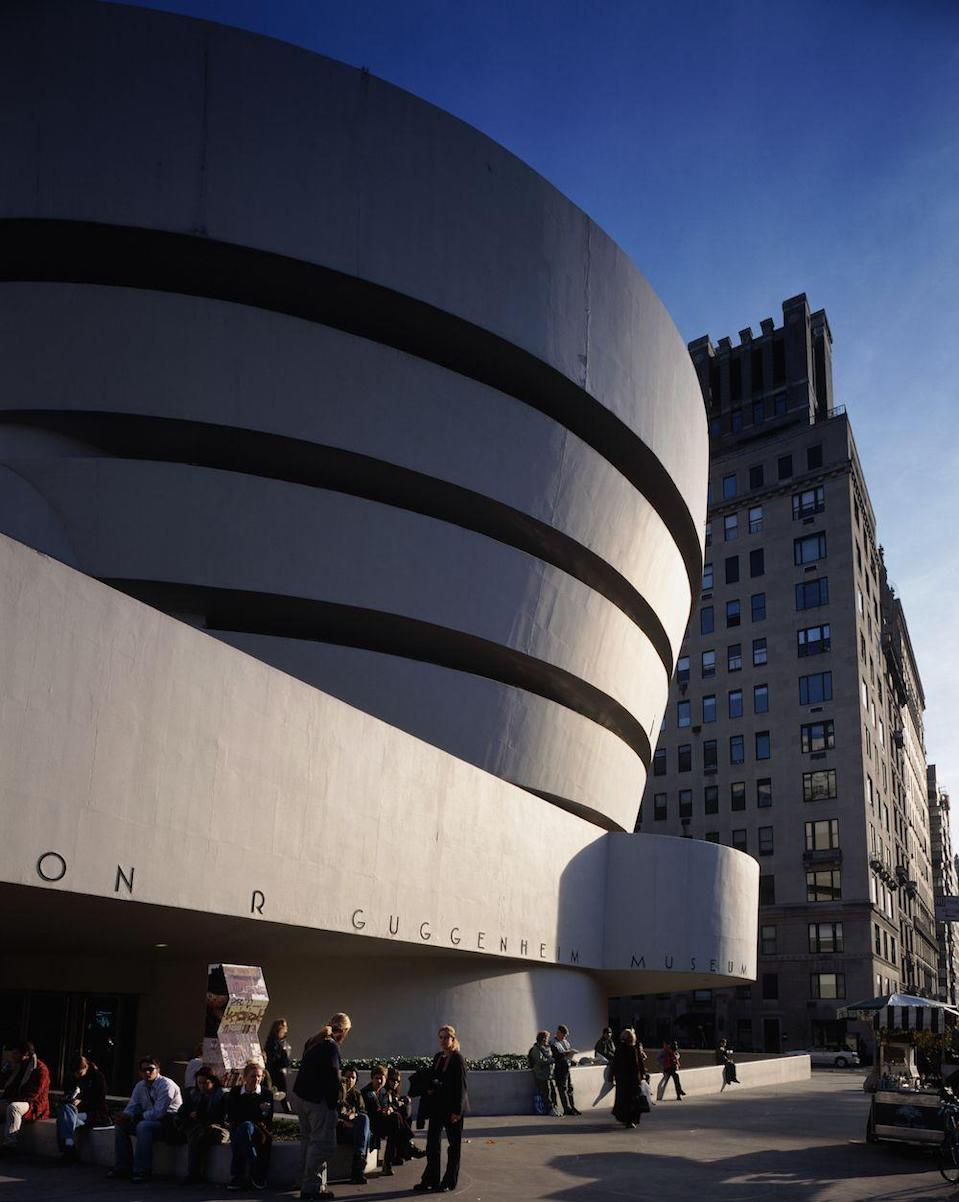 "<p><a href=""https://www.guggenheim.org/the-frank-lloyd-wright-building/timeline"" rel=""nofollow noopener"" target=""_blank"" data-ylk=""slk:The Guggenheim Museum"" class=""link rapid-noclick-resp"">The Guggenheim Museum</a> opens on October 21, just six months after architect Frank Lloyd Wright's death. </p>"