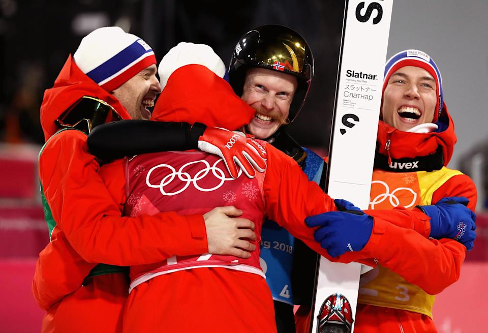 <p>Norway celebrates winning gold in Ski Jumping – Men's Team Large Hill on day 10 of the 2018 Winter Olympic Games on February 19, 2018 in PyeongChang, South Korea.<br> (Photo by Ryan Pierse/Getty Images) </p>