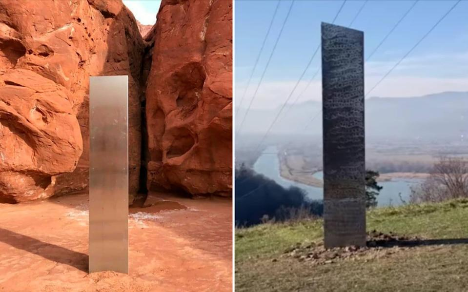The monoliths in Utah and Romania - AP/YouTube