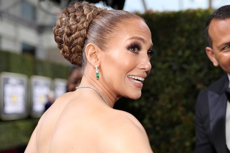 BEVERLY HILLS, CALIFORNIA - JANUARY 05: 77th ANNUAL GOLDEN GLOBE AWARDS -- Pictured: Jennifer Lopez arrives to the 77th Annual Golden Globe Awards held at the Beverly Hilton Hotel on January 5, 2020. -- (Photo by Christopher Polk/NBC/NBCU Photo Bank via Getty Images)