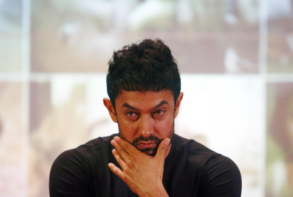 Bollywood actor Aamir Khan attends a news conference after an event to launch him as a United Nations Children's Fund (UNICEF) Regional Goodwill Ambassador for south Asia, in Kathmandu October 9, 2014. REUTERS/Navesh Chitrakar (NEPAL - Tags: ENTERTAINMENT POLITICS SOCIETY)