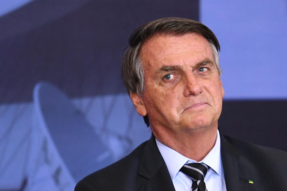 Brazilian President Jair Bolsonaro gestures during the Marechal Rondon Communications Award ceremony at the Planalto Palace in Brasilia, on September 14, 2021. (Photo by EVARISTO SA / AFP) (Photo by EVARISTO SA/AFP via Getty Images)