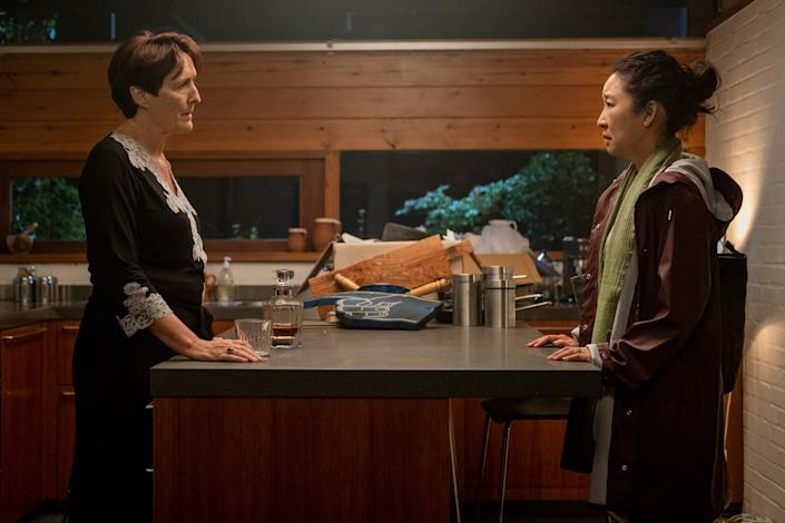 "<div class=""caption""> Head of the Russia desk at MI6, Carolyn Martens (Fiona Shaw, left, with Sandra Oh) moves into a new midcentury-style house in season three. </div> <cite class=""credit"">Photo: Nick Wall/BBCA</cite>"