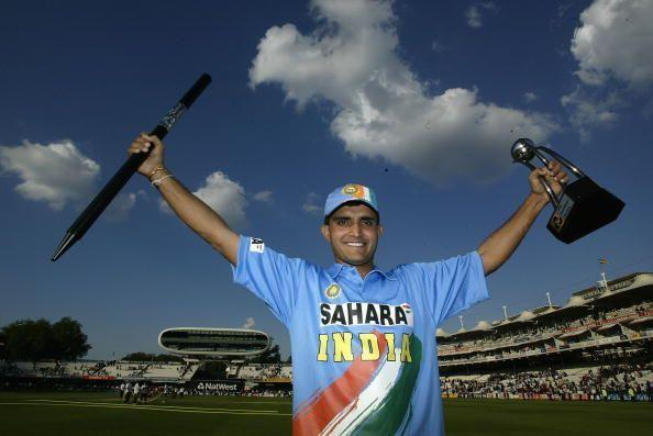 Captain Sourav Ganguly holds the NatWest tri-series trophy aloft in 2002.