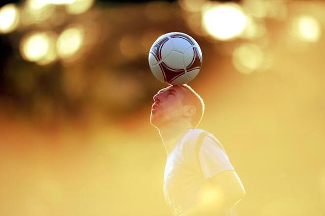France's national football team forward Franck Ribery juggles with a ball during a training session at the training center in Kircha on June 12, 2012, during the Euro 2012 football championships. TOPSHOTS/AFP PHOTO/FRANCK FIFEFRANCK FIFE/AFP/GettyImages