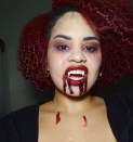 """<p>No matter how you do your makeup, don't forget the vampire's signature asset: the fangs. Skip the bulky plastic inserts—they sell caps for your teeth that are much more comfortable. </p><p><a class=""""link rapid-noclick-resp"""" href=""""https://www.amazon.com/COOLJOY-Vampire-Adhesive-Halloween-Accessories/dp/B07TB482PZ?tag=syn-yahoo-20&ascsubtag=%5Bartid%7C10072.g.37080875%5Bsrc%7Cyahoo-us"""" rel=""""nofollow noopener"""" target=""""_blank"""" data-ylk=""""slk:SHOP FANGS"""">SHOP FANGS</a></p>"""