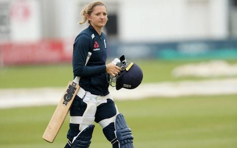 Sarah Taylor walks into the nets at Grace Road - Credit: Paul Harding/Getty Images