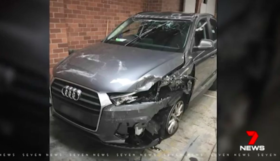 Mr Regan crashed his wife's car while out looking for his stolen Range Rover. Source: 7 News