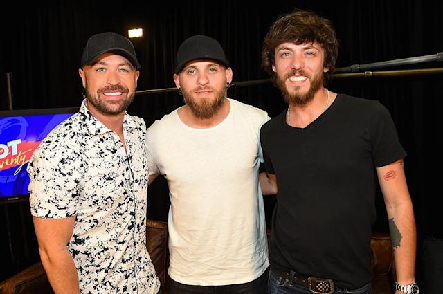 <p>Cody Alan, Brantley Gilbert and Chris Janson attends the 2017 iHeartCountry Festival, A Music Experience by AT&T at The Frank Erwin Center on May 6, 2017 in Austin, Texas. (Photo: Rick Kern) </p>