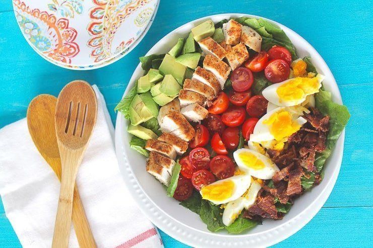 """<strong>Get the <a href=""""https://healyeatsreal.com/cobb-salad-recipe/"""" target=""""_blank"""" rel=""""noopener noreferrer"""">Colorful Cobb Salad</a> recipe from Healy Eats Real.</strong>"""