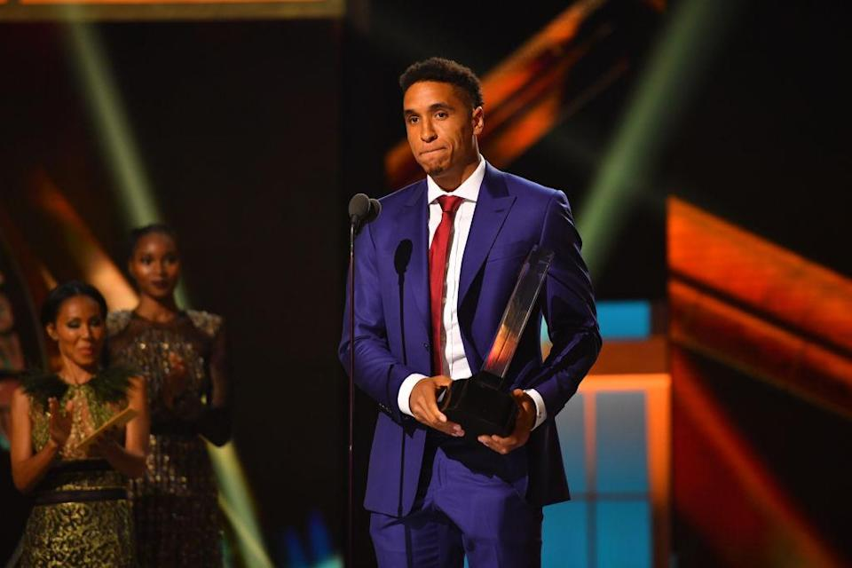 Malcolm Brogdon of the Milwaukee Bucks with the Rookie of the Year award during the 2017 NBA Awards Show on June 26, 2017 at Basketball City in New York City. (Jesse D. Garrabrant/NBAE/Getty Images)