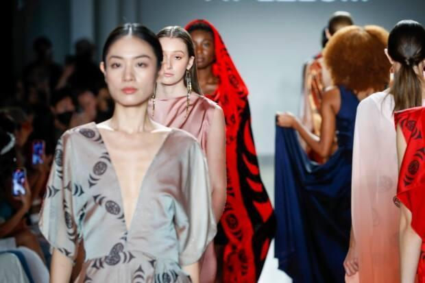 Models walk the runway for Ay Lelum — The Good House of Design for Global Fashion Collective I during NYFW: The Shows on Sept. 11, 2021 in New York City. (John Lamparski/Getty Images - image credit)