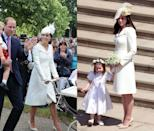 <p>Duchess Kate rewore the white Alexander McQueen outfit that she donned for Princess Charlottes christening in 2015 to her brother-in-law's royal wedding in May 2019. </p>