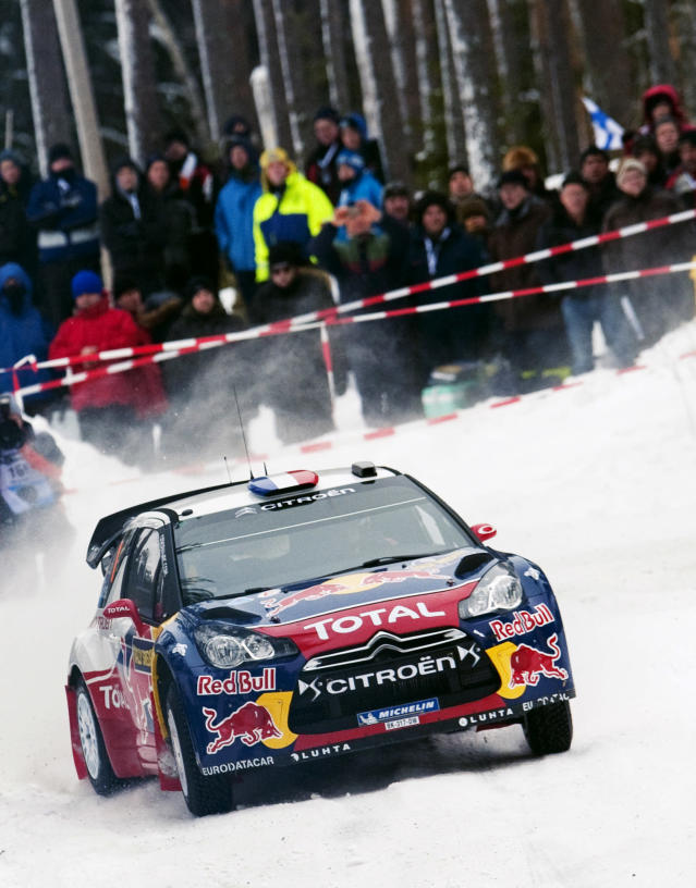 France's Sebastien Loeb and Monaco's co-driver Daniel Elena steer their Citroen DS 3 WRC during the 5th stage of the WRC Rally of Sweden on Febuary 10, 2012 at Finnskogen in Norway north west of the Swedish city Karlstad. AFP PHOTO/JONATHAN NACKSTRAND (Photo credit should read JONATHAN NACKSTRAND/AFP/Getty Images)
