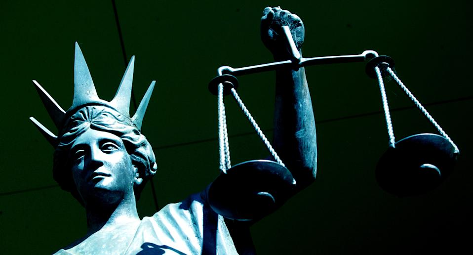 The scales of justice in Brisbane District Court