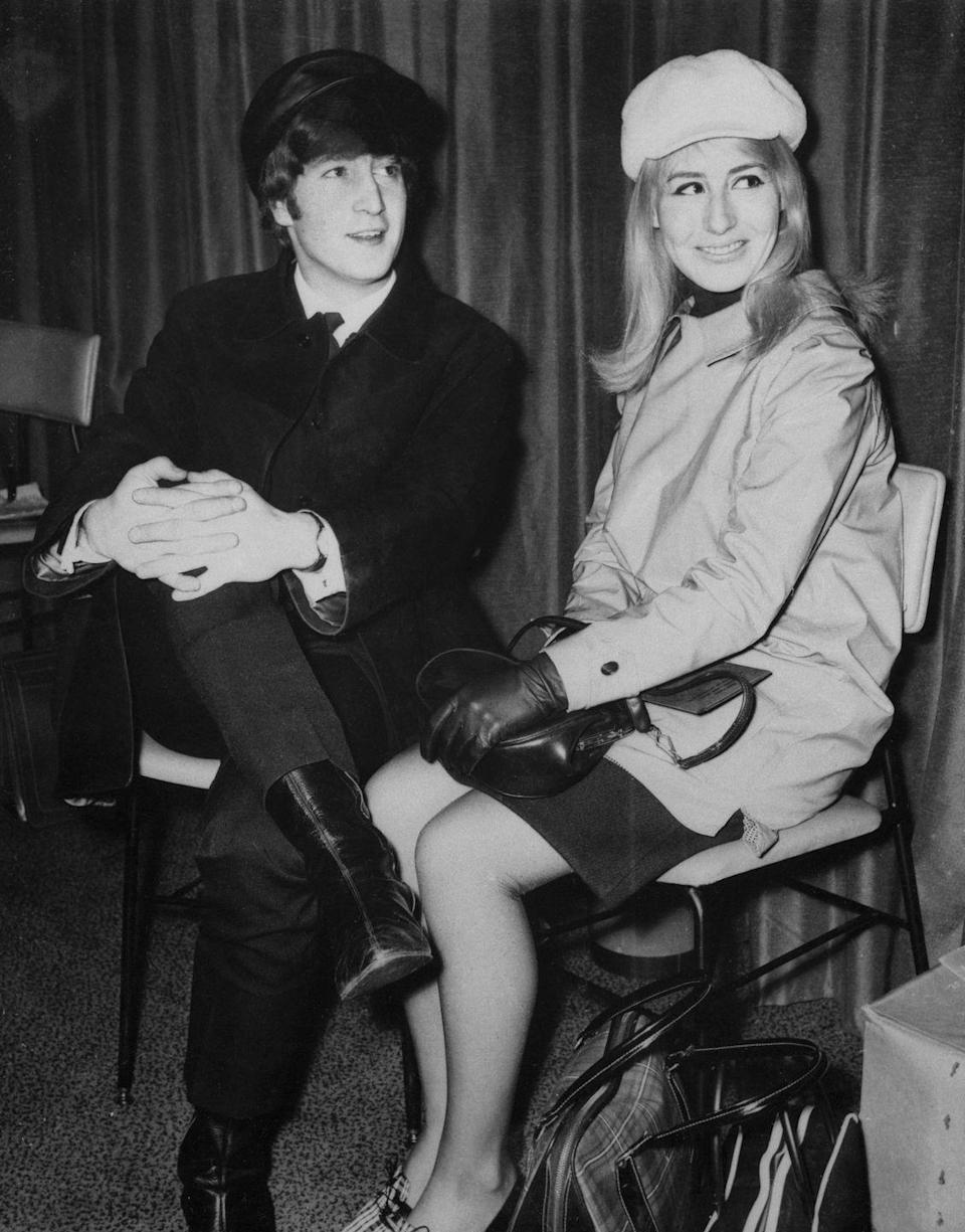 """<p>Beatles legend John Lennon <a href=""""http://www.npr.org/2015/04/02/397057478/in-her-life-after-john-cynthia-lennon-didnt-stop-loving-him"""" rel=""""nofollow noopener"""" target=""""_blank"""" data-ylk=""""slk:met Cynthia Powell"""" class=""""link rapid-noclick-resp"""">met Cynthia Powell</a> in art school in 1957. Powell got pregnant and they married in 1962, but Powell had to pretend that she wasn't married to her own husband in order to keep up his image for the band. Powell filed for divorce in 1966, with Lennon leaving Powell for Yoko Ono. </p>"""