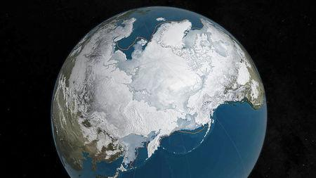 FILE PHOTO: An undated NASA illustration shows Arctic sea ice at a record low wintertime maximum extent for the second straight year, according to scientists at the NASA-supported National Snow and Ice Data Center (NSIDC) and NASA. NASA/Goddard's Scientific Visualization Studio/C. Starr/Handout via Reuters/File Photo