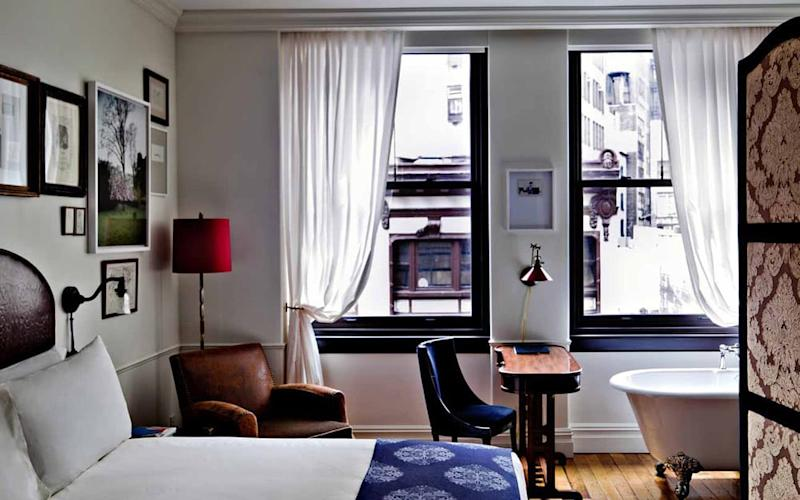 Retro-style mahogany desks and clawfoot tubs inject personality into the rooms at The NoMad.
