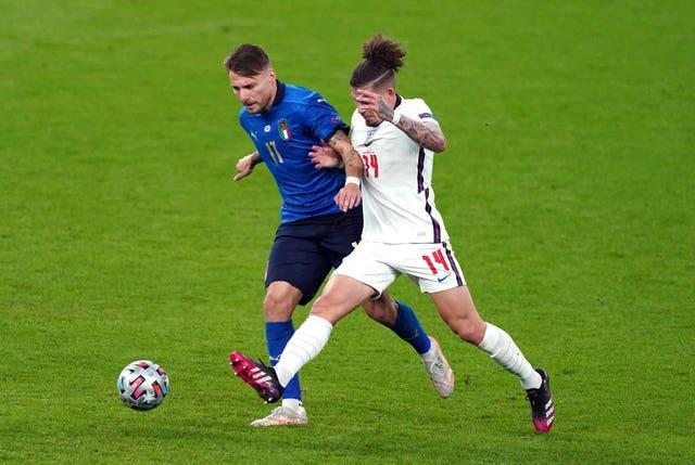 Italy's Ciro Immobile (left) and England's Kalvin Phillips (right)