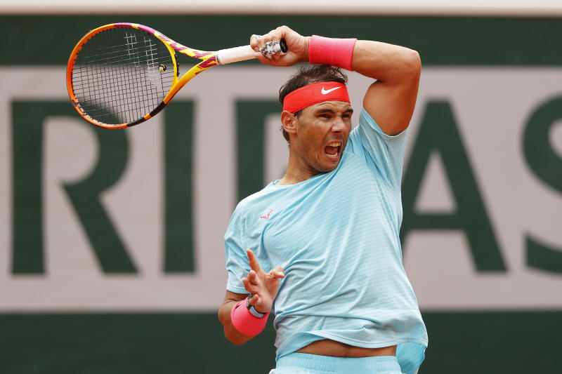 PARIS, FRANCE - SEPTEMBER 30: Rafael Nadal of Spain plays a forehand during his Men's Singles second round match against Mackenzie McDonald of the United States on day four of the 2020 French Open at Roland Garros on September 30, 2020 in Paris, France. (Photo by Clive Brunskill/Getty Images)